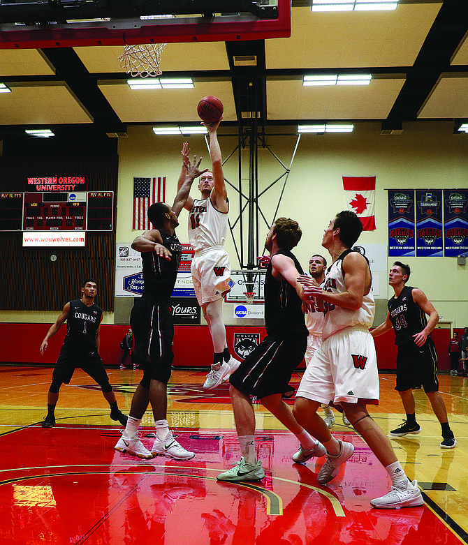Tanner Omlid goes up for a shot.