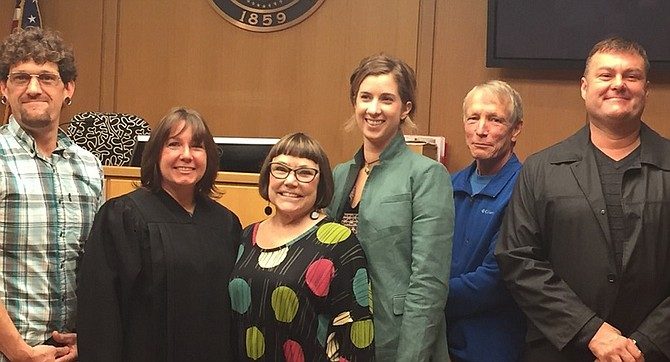 Five new Columbia Gorge CASA volunteers were recently sworn in. Pictured (l-r): Antonio Marconi, Judge Karen Ostrye, Becky Bell, Taryn Tkach of White Salmon, Mike Wacker, and Daylon Donnelly. (Submitted photo)