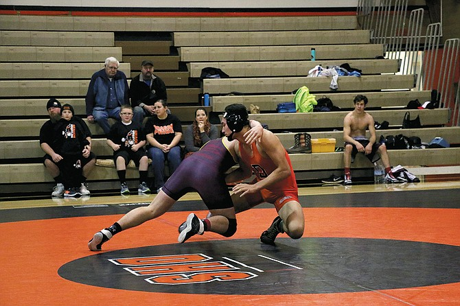 Treve Earhart wrestles on Saturday.