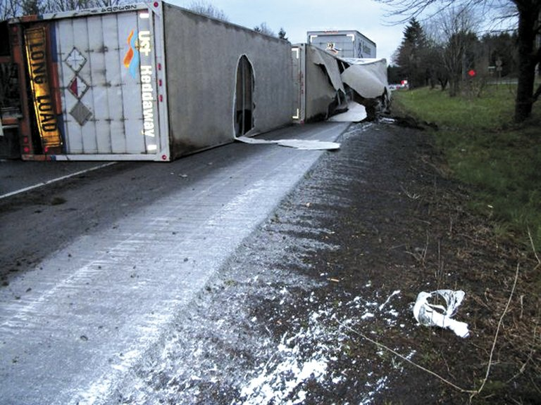 overturned, a semi-truck crash on Interstate 84 this week resulted in a hazmat cleanup.