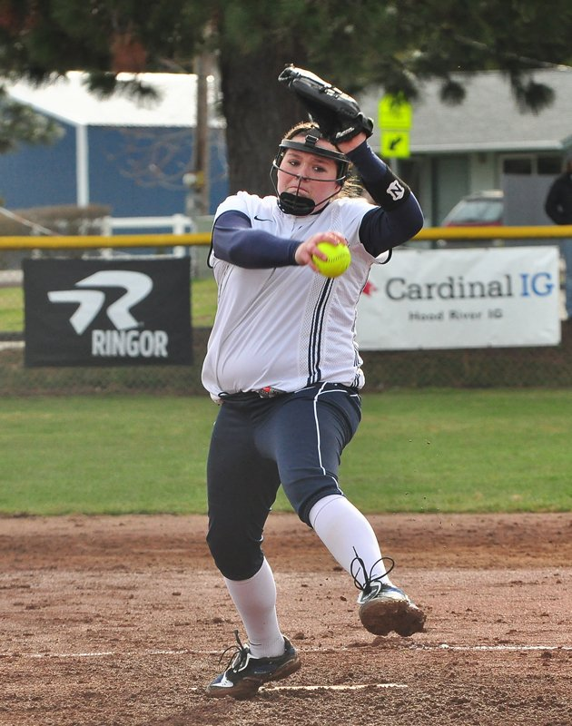 Kayla Byers (pictured earlier this season) tossed a no-hitter against Gresham Tuesday and also helped out with her bat as the Eagles won three of four games at the North Clackamas Tournament.