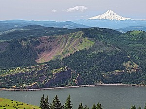 The 110-acre clearcut just east of Hood River as seen from Burdoin Mountain on the Washington side of the Columbia River.