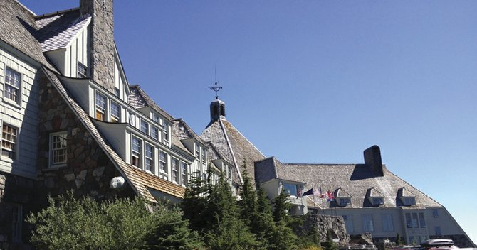 THE CRISP architectural lines of Timberline Lodge have stood out against the blue or snowy skies at Mount Hood for 75 years. An anniversary celebration is under way all month, including a music festival on Labor Day, inviting visitors to appreciate the beauty and high craftsmanship of the lodge.