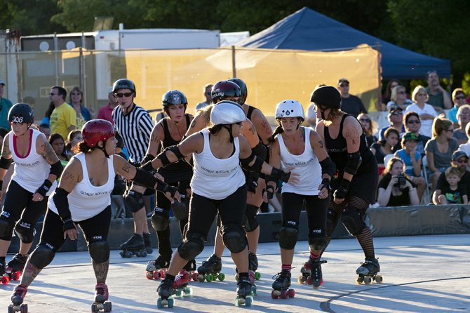 Get it on:  Gorge Roller Girls pictured here in action last week during the team's first exhibition bout in The Dalles. The Hood River-based team is made up of players from across the Gorge.