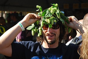 Hops forward, even in headwear like this festival-goer in 2011, is the spirit of the sixth-annual event.