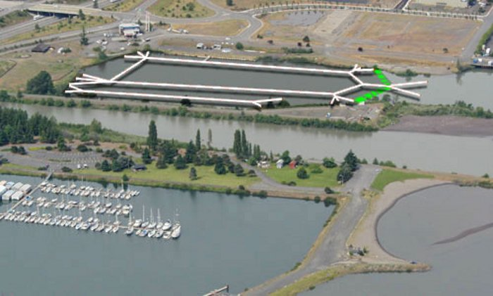 A rendering of the space the proposed cable park would take up in the Nichols boat basin.