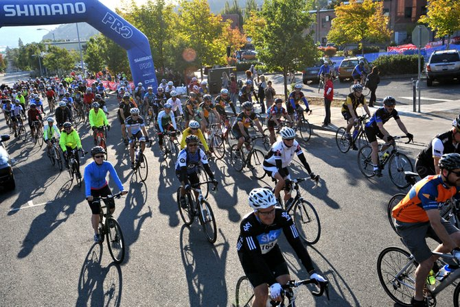 Riders depart from downtown Hood River Saturday morning for the start of the 2012 Echelon Gran Fondo.