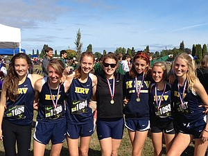 RV varsity cross country traveled to Portland Meadows over the weekend for the annual Nike Pre-Nationals. Pictured are (above) Kailee McGeer, Lauren Robinson, Denali Emmons, Lydia Gildehaus, Madison Freeman, Sascha Bockius and Grace Grim.