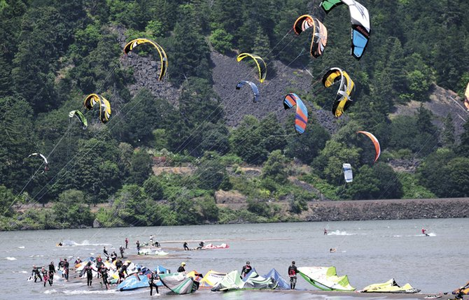 Crowding on the Hood River sandbar — one of the reasons the Port of Hood River cites in its decision to trim the number of schools with kiteboarding permits from seven to five.