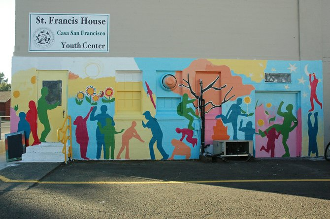 The Mid Valley Elementary School – St. Francis House mural  was commissioned from Boston artist Alex Cook.