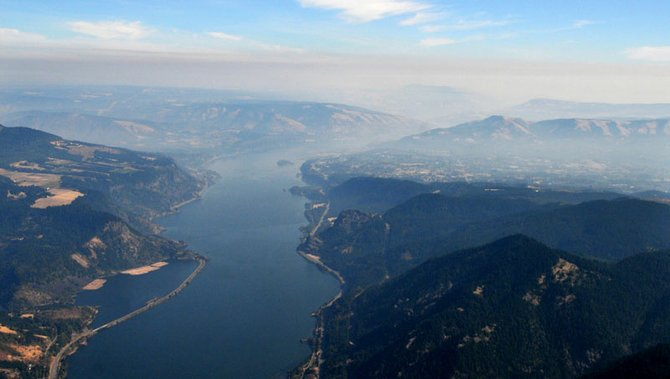 Smoke from numerous wildfires hangs in the air over Hood River during the 2012 fire season.