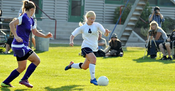 Shannon Ostler gets around a Hermiston defender during HRV&#39;s 2-0 win Oct. 9, 2012.