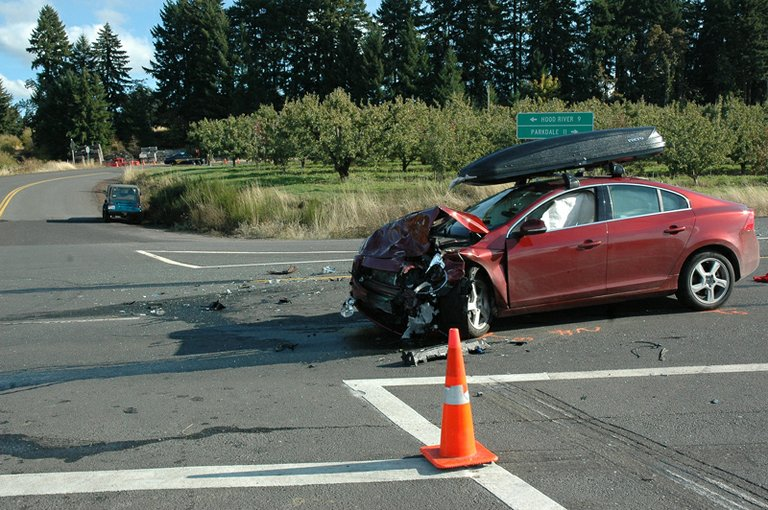The Volvo sedan driven by Gary Latulippe of Pennsylvania was one of two vehicles involved in a fatal accident on Highway 35 at Central Val4e Road near Odell. Latulippe survived the crash.