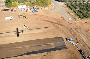 Construction at Hood River Airport in October of 2012. The portion of Orchard Road which has been permanently closed can be seen at bottom right.