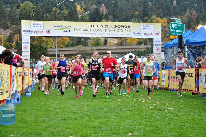 Half MArathon runners start at the 2012 Columbia Gorge Marathon.
