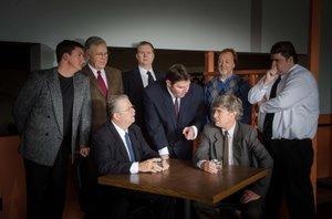 'GLENGARRY' cast: Joe Garoutte, left, Bruce Ludwig, Gregory Baisden, Greg Gilbertson, Greg Colt and Jason Carpenter. Seated are Tom Burns and Kirby Neumann-Rea.