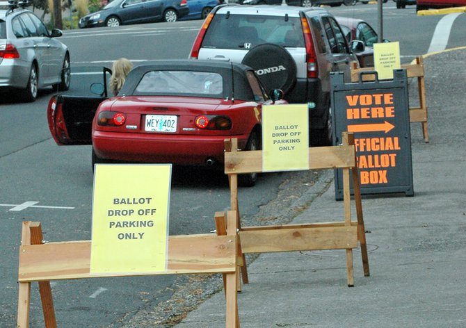 SIGNS note that parking is restricted to ballot drop-off only on State Street in front of the County Building.
