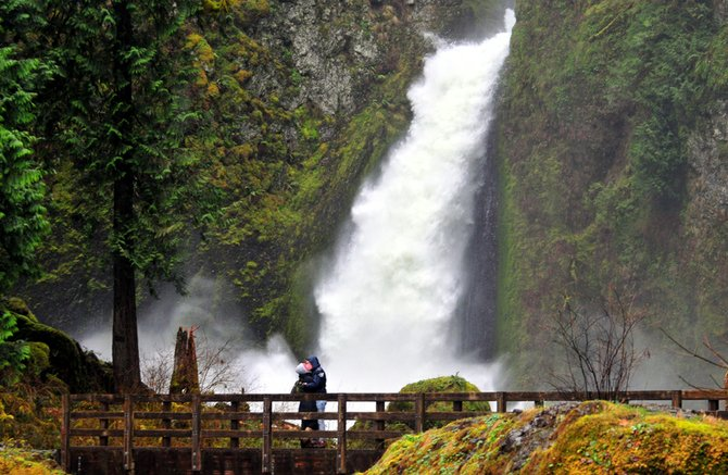 Wachlella falls  is one of dozens of waterfalls lining the Oregon side of the Gorge between Troutdale and Hood River. During wet months – and particularly during consecutive days of heavy rain like this week – the waterfalls are at their most magnificant. 