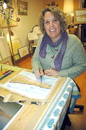 ARTIST Elizabeth Anderson works in her studio.