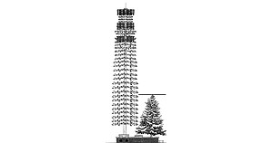"American's proposed ""monofir"" cell tower shown against the tallest adjacent tree height."