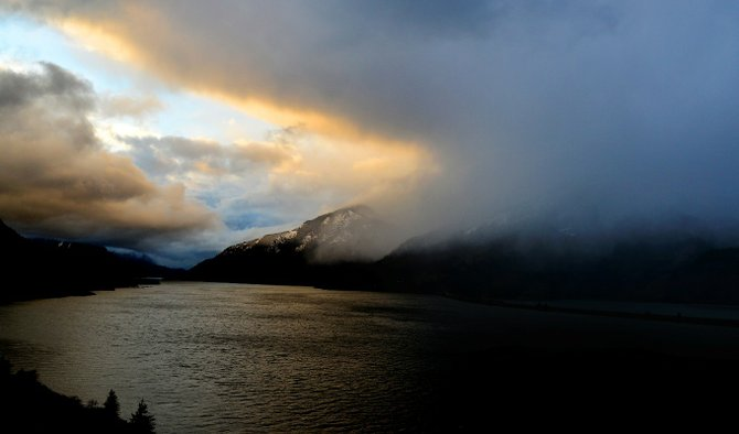 Snow falls in the Gorge Tuesday evening at the front of what is expected to be a cold, wet weather system to hit the area in the next 24 hours. National Weather Service has issued a Winter Storm Warning for the Gorge and the Hood River Valley through 6 p.m. Wednesday.