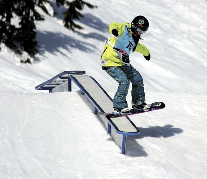Autumn Inouye (above)  finished first in her division at last week's USASA Rail Jam at Mt. Hood Meadows.  The club starts its OISA season Jan. 25 with a halfpipe contest at MHM.