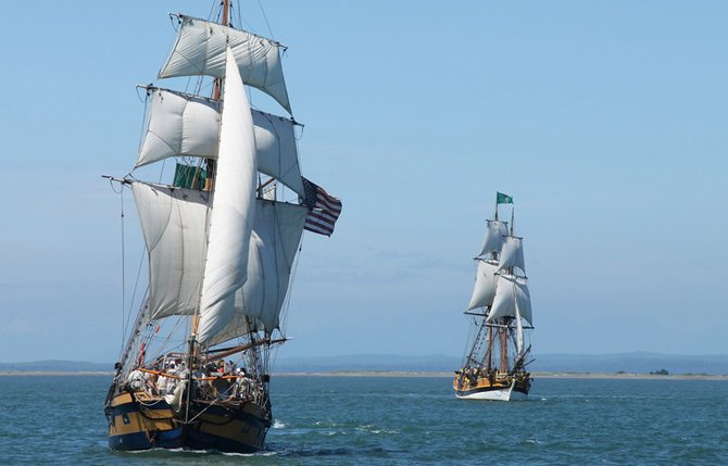 Lady Washington, the official ship of the State of Washington, and the topsail ketch Hawaiian Chieftain will make stops in The Dalles and Hood River during an upcoming seven-week tour of the Columbia River. Contributed photo