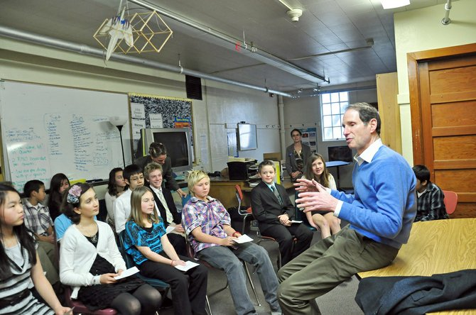 Senator Ron Wyden answers questions from the Hood River Middle School Constitution class following his town hall at the school in January.