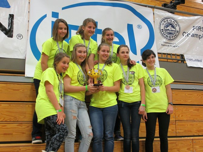 CELSIUS smiles: back row, from left: Leia Paul, Margaret Totten and Daisy Dolan; front row, from left, Ella VanCott, Claire Oswald, Morgan Totten, Emma Ouzounian and Lucy Fine.
