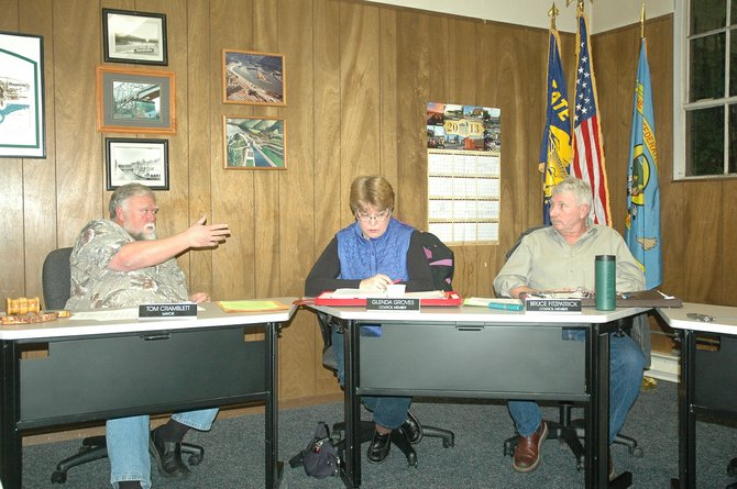 Mayor Tom Cramblett and council members Glenda Groves and Bruce Fitzpatrick discuss the appointment