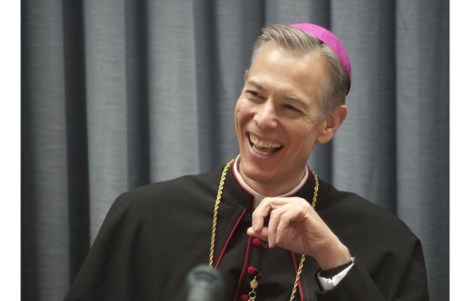 New incoming archbishop of the Archdioceses of Portland, Rev. Alexander K. Sample, speaks at his introduction in Portland Jan. 29. The outgoing archbishop John G. Vlazny, is retiring at age 75.