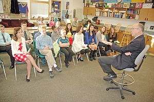 Rep. Greg Walden speaks Friday to the Constitution Class at Hood River Middle School.