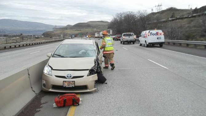 THE TOYOTA Prius, driven by Jocelyn F. Gay of The Dalles, came to a rest against the center median in an eastbound lane of Interstate 84 after she reportedly made a U-turn and drove the wrong way after missing an exit ramp. Gay and the driver of the Dodge Caravan she allegedly struck almost head-on, Rebekah A. Darden, 65, of Umatilla, were transported to Mid-Columbia Medical Center for treatment of minor injuries.