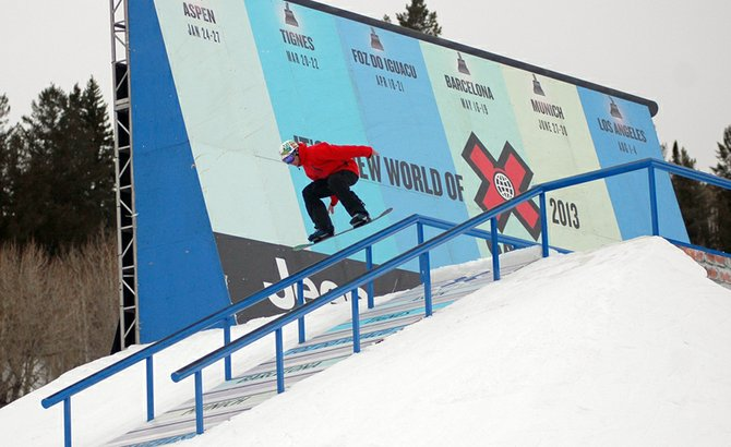  Connor Goodwillie competed in a USASA rail jam. 