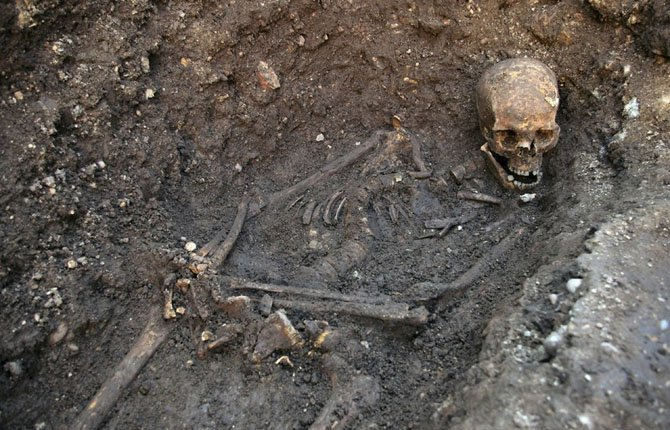 "An undated photo made available by the University of Leicester, England, Feb. 4 of the remains found underneath a car park last September at the Grey Friars excavation in Leicester, which have been declared Monday ""beyond reasonable doubt"" to be the long lost remains of England's King Richard III, missing for 500 years. 