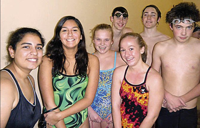 SENIOR MEMBERS OF The Dalles Wahtonka swimming team (pictured from left to right), Mika Hernandez, Audrey Miller, Brandon Gilmore, Anna Daggett, Will McClennan and Caleb Weiss pose for a group photo while practicing at The Dalles Fitness and Court Club in The Dalles. At 11 a.m. this Saturday at the Hood River Aquatics Center, TDW is set to participate in 5A district action.