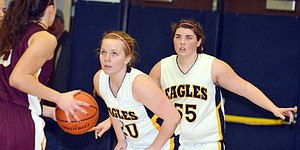Natalya Ames and Annie Veatch get set on defense for the HRV girls team.