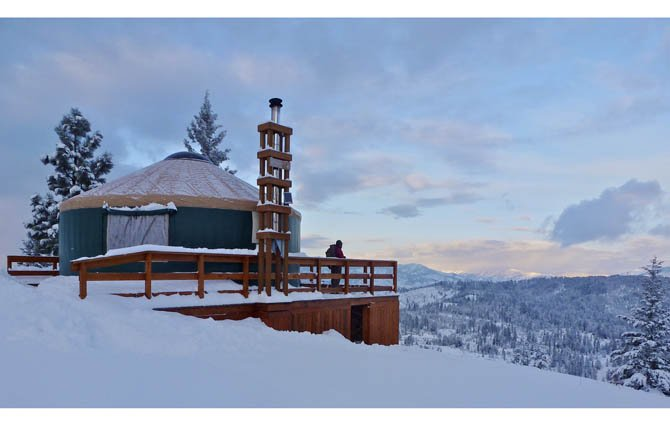 A yurt is shown at Stargaze Yurt in the Boise Mountains, northeast of Idaho City, Idaho. The yurts provide an easy way for snowshoers and Nordic skiers to camp in the backcountry in the winter and take in these experiences in relative comfort.