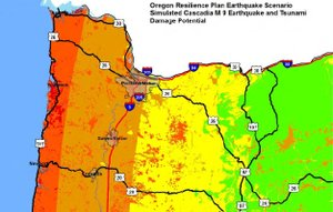 """Hood River county would likely feel only a """"light"""" shaking with some cracking of buildings and other light damage due to a large Cascadia Subduction Zone quake, according to the Oregon Resiliency Report."""
