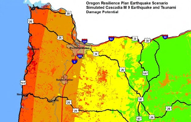 "Hood River county would likely feel only a ""light"" shaking with some cracking of buildings and other light damage due to a large Cascadia Subduction Zone quake, according to the Oregon Resiliency Report."
