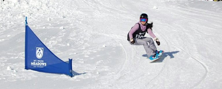 Banked slalom racing at Mt. Hood Meadows last weekend. Pictured is Autumn Inouye on her way to a first-place finish.
