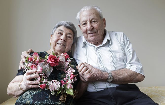 Maddalena, 88, and Fortunato Corso, 89, a Bensonhurst couple married 72 years who met in Calabria, Italy, and married Feb. 4, 1941, pose for a photograph at their home in New York Feb. 13.