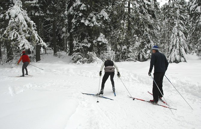 A trio of cross-country skiers get a good workout Jan. 1, 2013, on the 3.7-mile Big Tree Loop out of Pineside Sno-Park in the Mount Adams District of the Gifford Pinchot National Forest near Trout Lake, Wash. The loop is rated easy by the Forest Service and is used as part of a 5-mile nordic ski race each year during the Trout Lake Cabin Fever Festival. 	