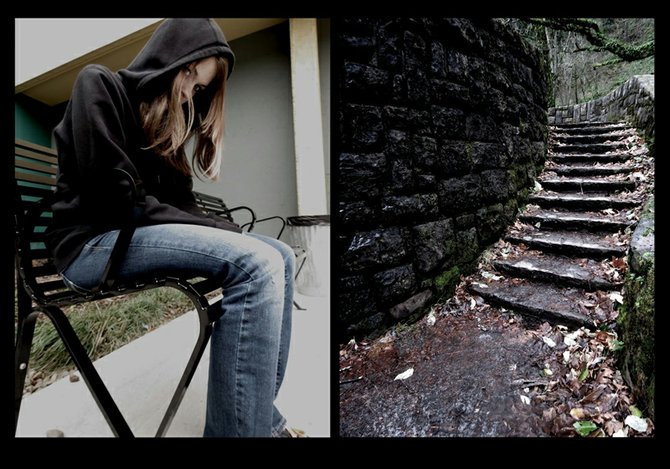Isolation  – One of the many impacts of bullying is the theme of this photograph, part of a winning series created by Sadie Shepard, 17, an HRVHS senior who recently took second place in the national Young Voices Aspire Awards competition created by Adobe (makers of Photoshop software.)