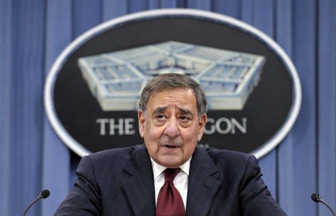 Outgoing Defense Secretary Leon Panetta speaks during his last news conference as defense secretary, Feb. 13, at the Pentagon. The Senate Armed Services Committee voted to approve Panetta's replacement, former Nebraska Republican Sen. Chuck Hagel, sending the nomination to the full Senate. 	AP