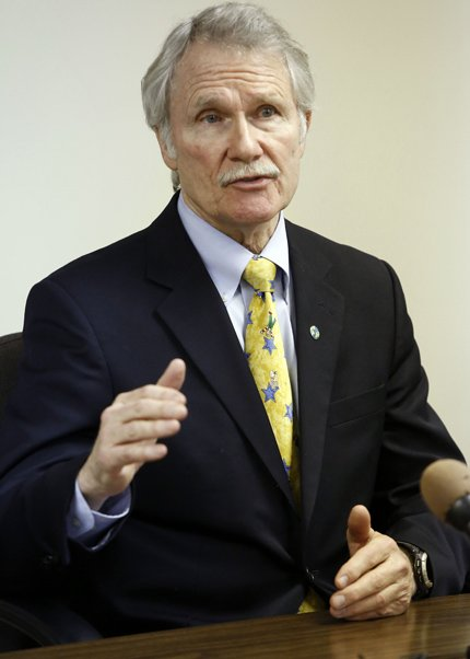 Oregon Gov. John Kitzhaber speaks during a meeting with Oregon newspaper publishers and editors Jan. 15 in Salem. With his health care reforms starting to roll out in much of Oregon, Kitzhaber is turning his attention beyond the borders with a pitch to other governors in a private session in Washington this weekend. Kitzhaber said he's hoping to get three or four governors from each party on board with his push to change the way doctors are paid and patients are treated.