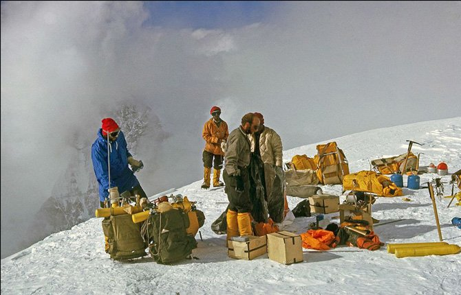 Members of the 1963 American Mount Everest Expedition team and sherpas are shown with their climbing gear on Mt. Everest. Surviving members of the first American expedition team to reach the top of Mt. Everest are celebrating the 50th anniversary of their mountaineering milestones.