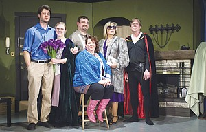 """""""IHATEHAMLET,"""" an adult comedy performed by the Theatre Company of The Dalles premiers Feb. 28 at 7:30 p.m., and continues March 1, 2, 7, 8, 9, 14, 15, 16, at 7:30 p.m. at the Columbia Gorge Community College-Auditorium Building 2, Floor 3.  Characters pictured from left are: AndrewRally(Lowell Weller), Deirdre McDavey(Ryli Rapelje), Gary Peter Lefkowitz (Dave Owens), Felicia Dantine (Linda Beiter), Lillian Troy (Jennifer Ashley), and John Barrymore (Steve Daniels). Advance tickets are available at Klindt's Book Sellers, The Dalles and at the door. Adult admission is $12, students and seniors $10. Call the Theatre Company of The Dalles at 541-370-2513 for more information."""