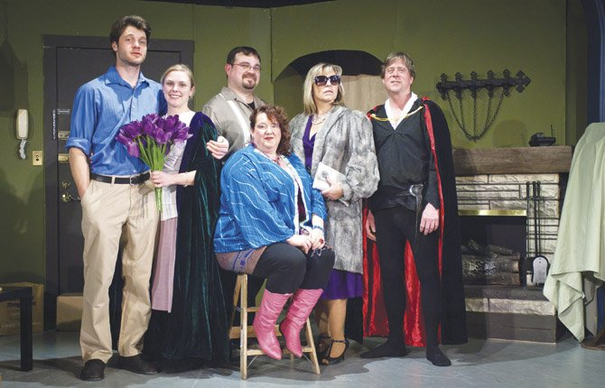 """I HATE HAMLET,"" an adult comedy performed by the Theatre Company of The Dalles premiers Feb. 28 at 7:30 p.m., and continues March 1, 2, 7, 8, 9, 14, 15, 16, at 7:30 p.m. at the Columbia Gorge Community College-Auditorium Building 2, Floor 3.  Characters pictured from left are: Andrew Rally (Lowell Weller), Deirdre McDavey (Ryli Rapelje), Gary Peter Lefkowitz (Dave Owens), Felicia Dantine (Linda Beiter), Lillian Troy (Jennifer Ashley), and John Barrymore (Steve Daniels). Advance tickets are available at Klindt's Book Sellers, The Dalles and at the door. Adult admission is $12, students and seniors $10. Call the Theatre Company of The Dalles at 541-370-2513 for more information."
