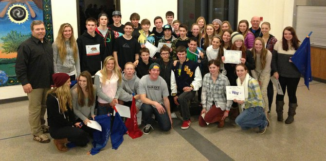 The 2012-13 HRV ski team at its team awards banquet.